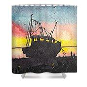 Grounded Shrimp Boat Shower Curtain