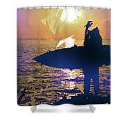 Silhouette Woman On Coast Holding Surfboard At Sunset Shower Curtain