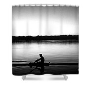 Silhouetted Crewman Rowing  Shower Curtain