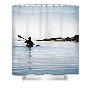 Silhouetted Kayaker In Morro Bay Shower Curtain