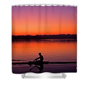 Silhouetted Man Rowing Shower Curtain