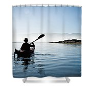 Silhouetted Morro Bay Kayaker Shower Curtain by Bill Brennan - Printscapes