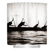 Silhouetted Paddlers Shower Curtain