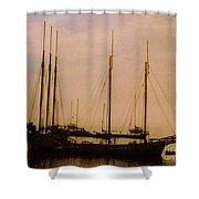 Silhouetted Sailboats Shower Curtain
