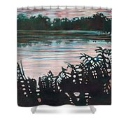 Silhouetted Serenity Shower Curtain