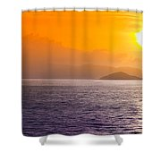 Silhouetted Ship  Shower Curtain