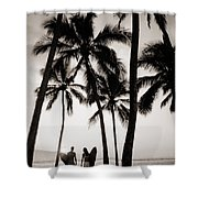 Silhouetted Surfers - Sep Shower Curtain