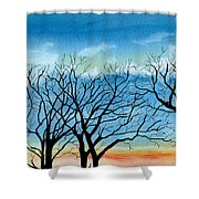Silhouettes Against The Sky Shower Curtain