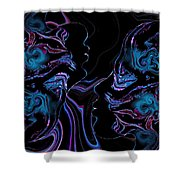 Silhouettes In Black Light. Shower Curtain