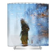 Silhouettes In Blue Sky Shower Curtain