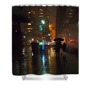 Silhouettes In The Rain - Umbrellas On 42nd Shower Curtain