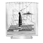 Silhouettes Of Human And Birds. Shower Curtain