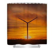 Silhouettes Of Wind Turbines With A Beautiful Sunset Shower Curtain