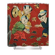 Silk Robe - Children Playing With Turtle Shower Curtain