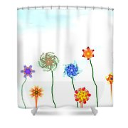 Silly Fractal Garden Shower Curtain