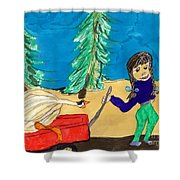 Silly Little Goose Wagon Ride Shower Curtain