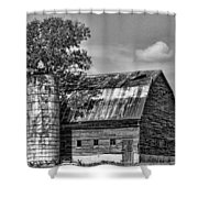 Silo Tree Black And White Shower Curtain