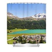 Silvaplana In Canton Graubunden, Switzerland Shower Curtain
