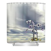 Silver And Gold Orchids Shower Curtain