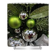 Silver And Green For Christmas Shower Curtain