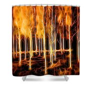 Silver Birches Flaming Abstract  Shower Curtain