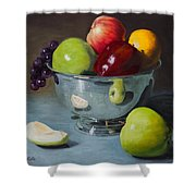 Silver Bowl Of Fruit Shower Curtain