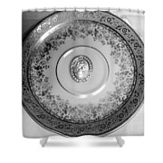 Silver Cameo Plate Shower Curtain
