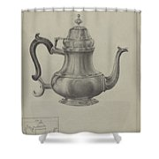 Silver Coffee Pot Shower Curtain