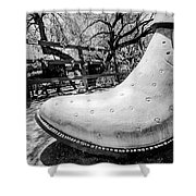 Silver Cowboy Boot Shower Curtain