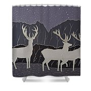 Silver Deers Shower Curtain