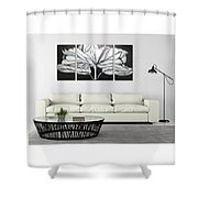 Silver Flower Oil Painting Shower Curtain