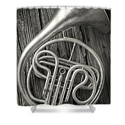 Silver French Horn Shower Curtain