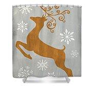 Silver Gold Reindeer Shower Curtain