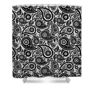 Silver Gray Paisley Design Shower Curtain
