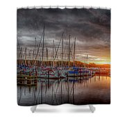 Silver Harbor Skies Shower Curtain