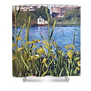Silver Lake Blossoms Shower Curtain