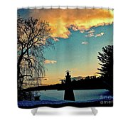 Silver Lake Sundown Shower Curtain