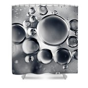 Silver Macro Droplets Shower Curtain