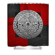 Silver Mayan-aztec Calendar On Black And Red Leather Shower Curtain