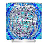 Silver On Blue Stained Glass Shower Curtain