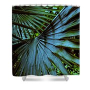 Silver Palm Leaf Shower Curtain