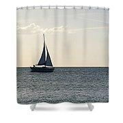 Silver Sailboat Shower Curtain