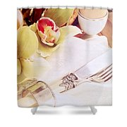 Silver Service Breakfast Setting Shower Curtain