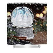 Silver Snow Globe With White Christmas Trees Shower Curtain