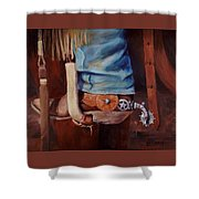 Silver Star Spurs Shower Curtain
