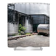 Silver Tanks In Factory Shower Curtain