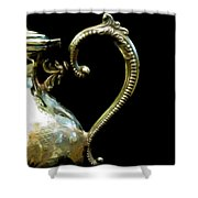Silver Tea Pot Handle - Digital Oil Art Work Shower Curtain