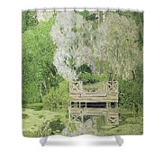 Silver White Willow Shower Curtain