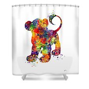 Simba The Lion King Watercolor Art  Shower Curtain