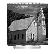 Simple Country Church - Bw Shower Curtain